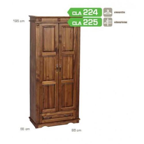 Fenyő szekrény pácolt (2 ajtó,1 fiók) CLA225